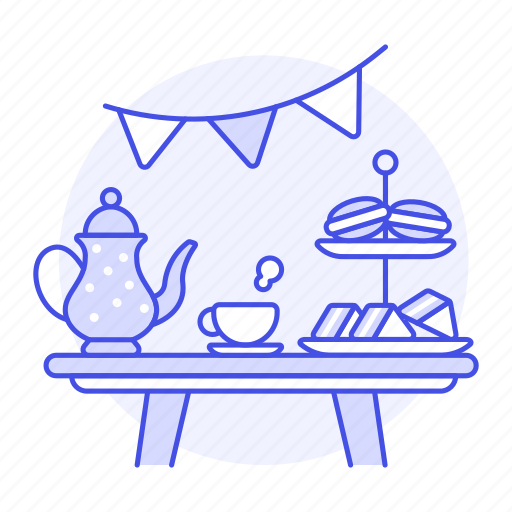 afternoon, coffee, cup, entertainment, french, macaron, party, sandwich, set, table, tea, teapot icon