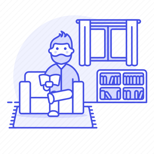 books, entertainment, home, living, male, ralex, reading, relaxing, room, sit, sofa, time icon