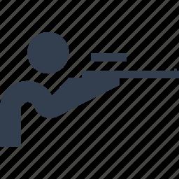 aim, aiming, army, distraction, entertainment, exercise, gun, killer, man, person, shoot, tir, weapon icon