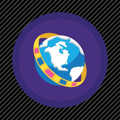 explorer, globe, movie icon
