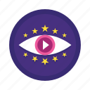 eye, play, see, stars, video, watch icon