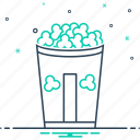 bucket, corn, food, pop, pop corn, snack icon