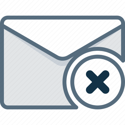 block, cross, delete, email, envelope, error, mail icon