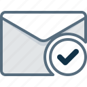 check, control, email, envelope, mail, post icon