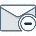 delete, envelope, mail, minus, post, remove icon
