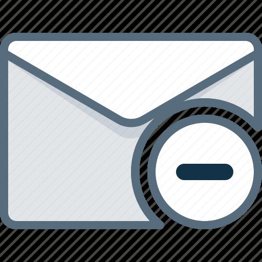 delete, envelope, mail, minus, post, remove icon
