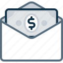bill, dollar, email, envelope, mail, money, pay