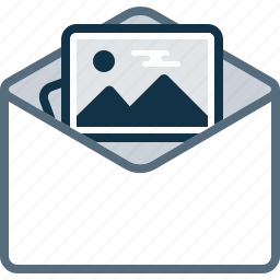 attachment, email, envelope, image, mail, photo icon
