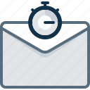 email, envelope, sent, stopwatch, timer icon