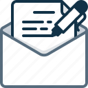 edit, email, envelope, letter, pen, text, write icon