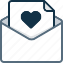 email, envelope, favorite, heart, letter, mail, valentain icon