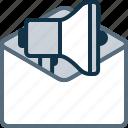 envelope, mail, marketing, megaphone, promo icon