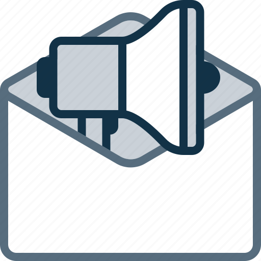 envelope, mail, marketing, megaphone, promo icon