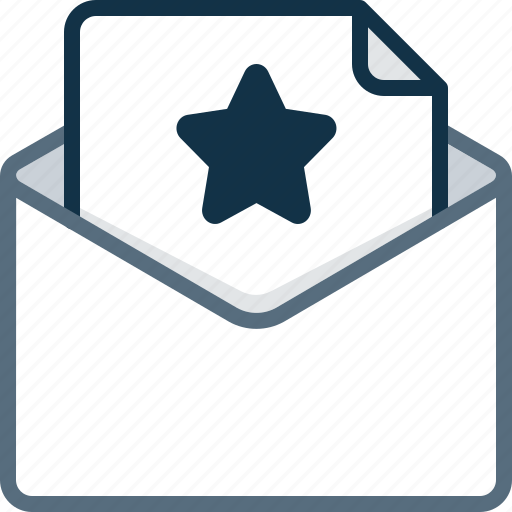 email, envelope, favorite, letter, star icon