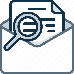 email, envelope, letter, magnifier, mail, search, zoom icon