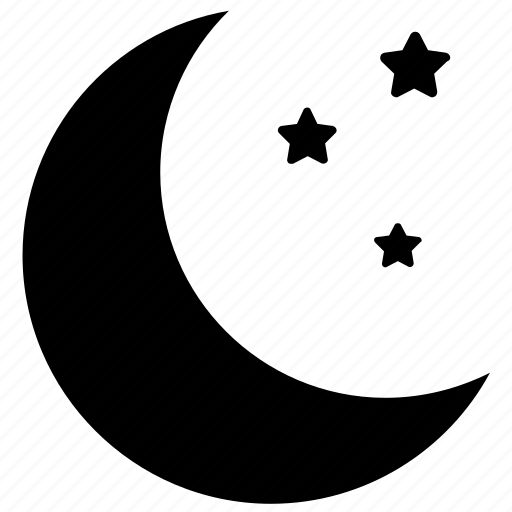 crescent, half moon, moon, night, stars icon