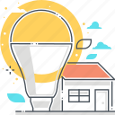 efficiency, energy, environment, house, lamp, led, weather icon