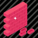 bricks, brick wall, bricklayer, brick texture, brick work icon