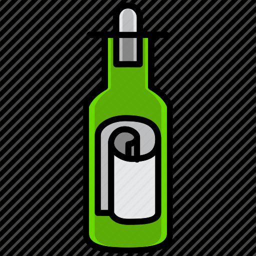 bottle, communication, essential, interaction, message, pirate, urgent icon