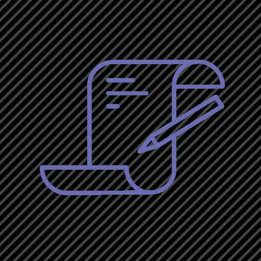 development, list, novel, paper and pen, poetry, script icon