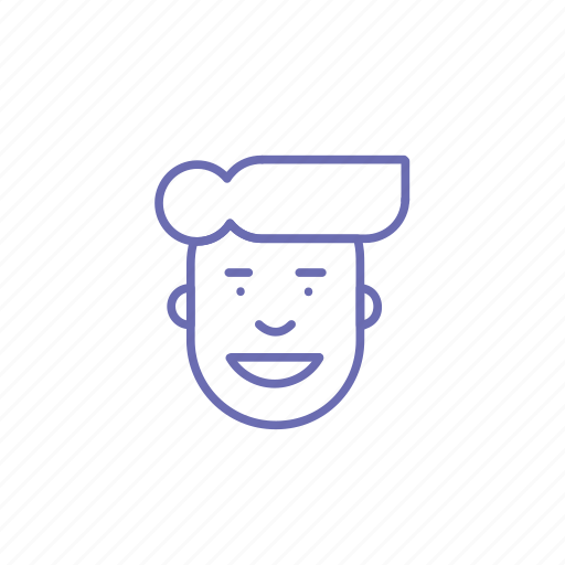 face, head, smile, student, teen, user, user line icon