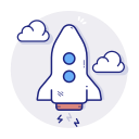 rocket, spaceship, start, startup icon
