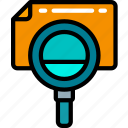 audit, data, essentials, file, magnifying glass, search