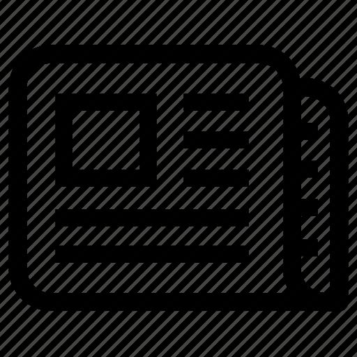 blog, journal, news, newspaper, writing icon