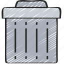 bin, empty, essentials, garbage, trash icon