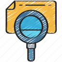 audit, data, essentials, file, magnifying glass, search icon