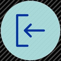arrow, back, enter, essential, get in, iu, left icon