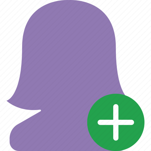 add, app, essential, female, interaction, misc, user icon