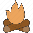campfire, camping, fire icon