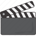 clapboard, film, movie icon