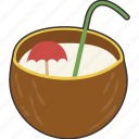 coconut, drink, tropical icon