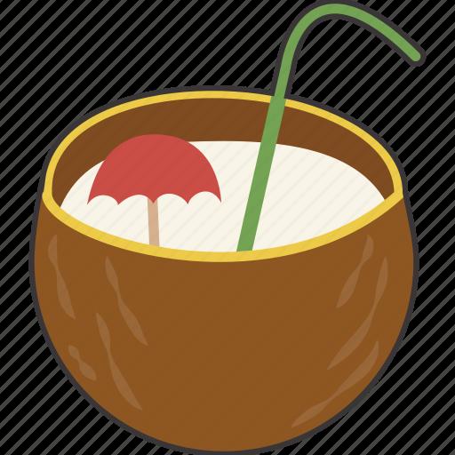 coconut, drink, tropical icon