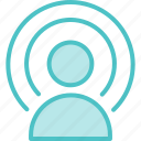 broadcast, person, signal, wifi icon