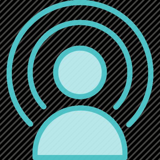 broadcast, person, signal, wifi icon