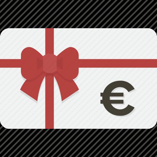 card, euro, gift, gift card, shopping icon