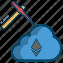 blockchain, cloud, digital, ethereum, mining icon