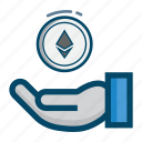 coin, coins, ethereum, hand icon