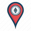 coin, ethereum, location, map icon