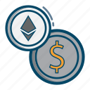 cash, coin, dollar, ethereum, money, transfer icon