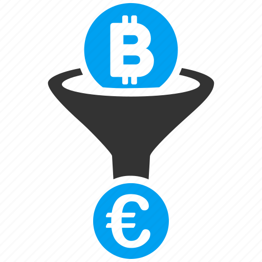 bitcoin, currency conversion, euro, filtration, mining, money exchange, sales funnel icon