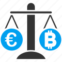 balance, bitcoin, change, compare, euro, finance, weight icon