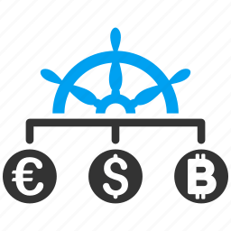 business, control, currency, finance, management, money exchange, strategy icon