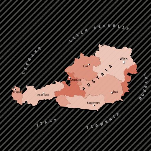 austria, countries, country, europa, europe, map, maps icon