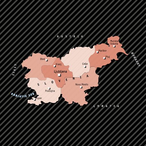countries, country, europa, europe, map, maps, slovenia icon