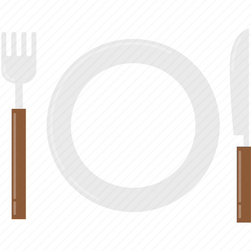 dish, food, fork, kitchen, knife, plate, restaurant icon