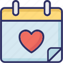 calendar, heart calendar, valentine day, wedding day icon
